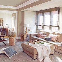 Фотография: Гостиная в стиле Кантри, Квартира, Цвет в интерьере, Дома и квартиры, Бежевый – фото на InMyRoom.ru