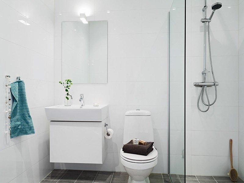 Фотография: Ванная в стиле Современный, Скандинавский, Малогабаритная квартира, Квартира, Дома и квартиры, Гетеборг – фото на InMyRoom.ru