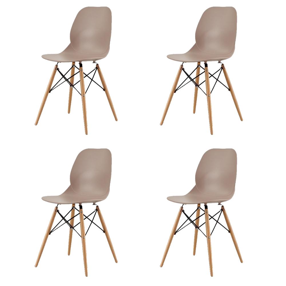 Купить Набор из четырех стульев коричневого цвета на деревянных ножках, inmyroom, Китай
