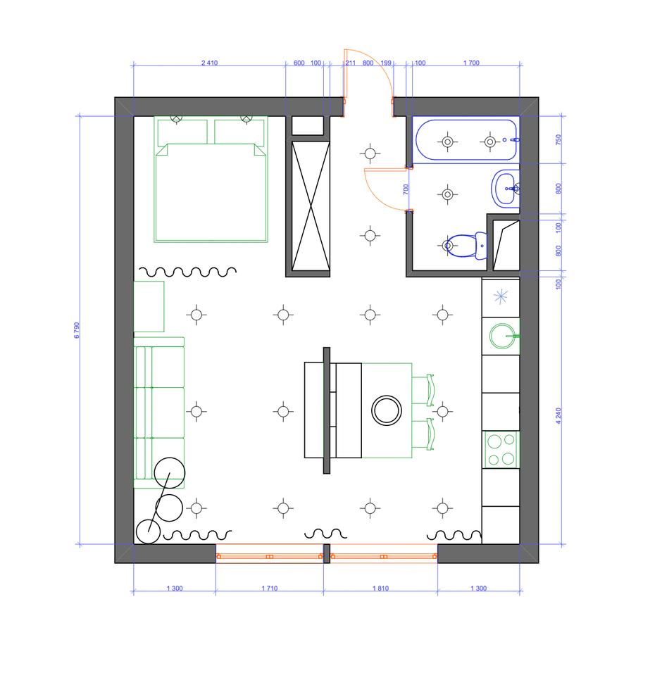 Фотография: Планировки в стиле , Современный, Квартира, Проект недели, Москва, Желтый, Серый, Инна Усубян, Как создать интерьер для пары, как оформить студию для пары, дизайн квартиры для пары – фото на InMyRoom.ru