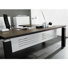 Дизайнерский стол Tao темное дерево (с перегородкой)