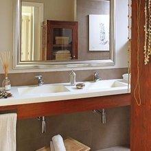 Фотография: Ванная в стиле Современный, Квартира, Цвет в интерьере, Дома и квартиры, Бежевый – фото на InMyRoom.ru