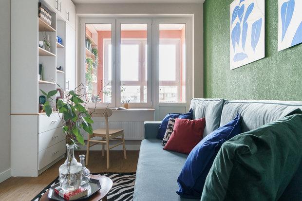 Фотография: Гостиная в стиле Современный, Квартира, Проект недели, Санкт-Петербург, 1 комната, до 40 метров, Александра Сакмарова – фото на INMYROOM