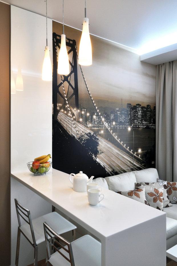 Фотография: Мебель и свет в стиле Лофт, Современный, Кухня и столовая, Гостиная, Малогабаритная квартира, Квартира, Интерьер комнат, Фотообои – фото на InMyRoom.ru
