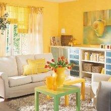 Фотография: Гостиная в стиле , Декор интерьера, Дизайн интерьера, Цвет в интерьере, Желтый – фото на InMyRoom.ru