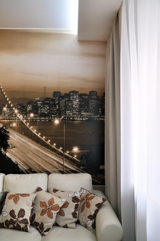 Фотография: Гостиная в стиле Лофт, Современный, Кухня и столовая, Малогабаритная квартира, Квартира, Интерьер комнат, Фотообои – фото на InMyRoom.ru