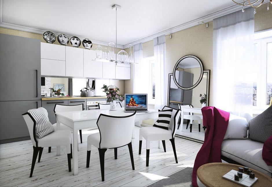 Фотография: Кухня и столовая в стиле Эклектика, Квартира, Дома и квартиры, Проект недели – фото на InMyRoom.ru