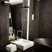 Фотография: Ванная в стиле Современный, Лофт, Малогабаритная квартира, Квартира, Цвет в интерьере, Дома и квартиры, Черный, Зеленый – фото на InMyRoom.ru