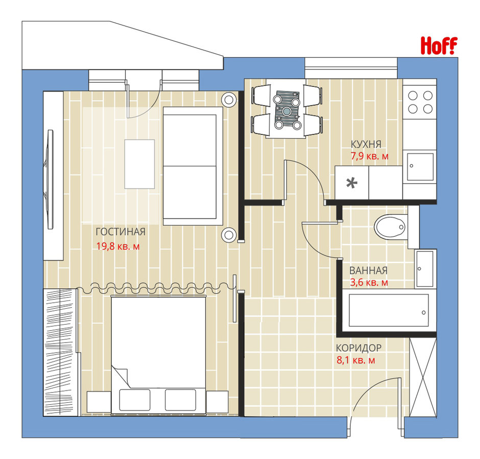 Фотография:  в стиле , Планировки, Советы, HOFF, П-44, Панельный дом, 1 комната, до 40 метров – фото на InMyRoom.ru