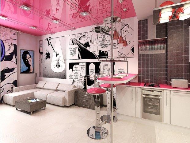 Фотография: Кухня и столовая в стиле Современный, Квартира, Дома и квартиры, Поп-арт – фото на InMyRoom.ru