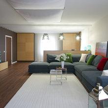 Фотография: Гостиная в стиле Современный, Дом, Планировки, Мебель и свет, Дома и квартиры, Мансарда – фото на InMyRoom.ru