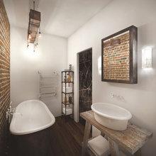 Фотография: Ванная в стиле Лофт, Квартира, Дома и квартиры, Проект недели, Перепланировка, Переделка – фото на InMyRoom.ru