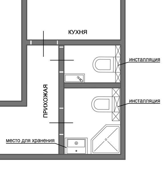 Фотография: Офис в стиле Лофт, Ванная, 8, Перепланировка, планировка санузла, санузел в двухкомнатной квартире дома серии 83, перепланировка маленького санузла, планировка для маленького санузла – фото на InMyRoom.ru