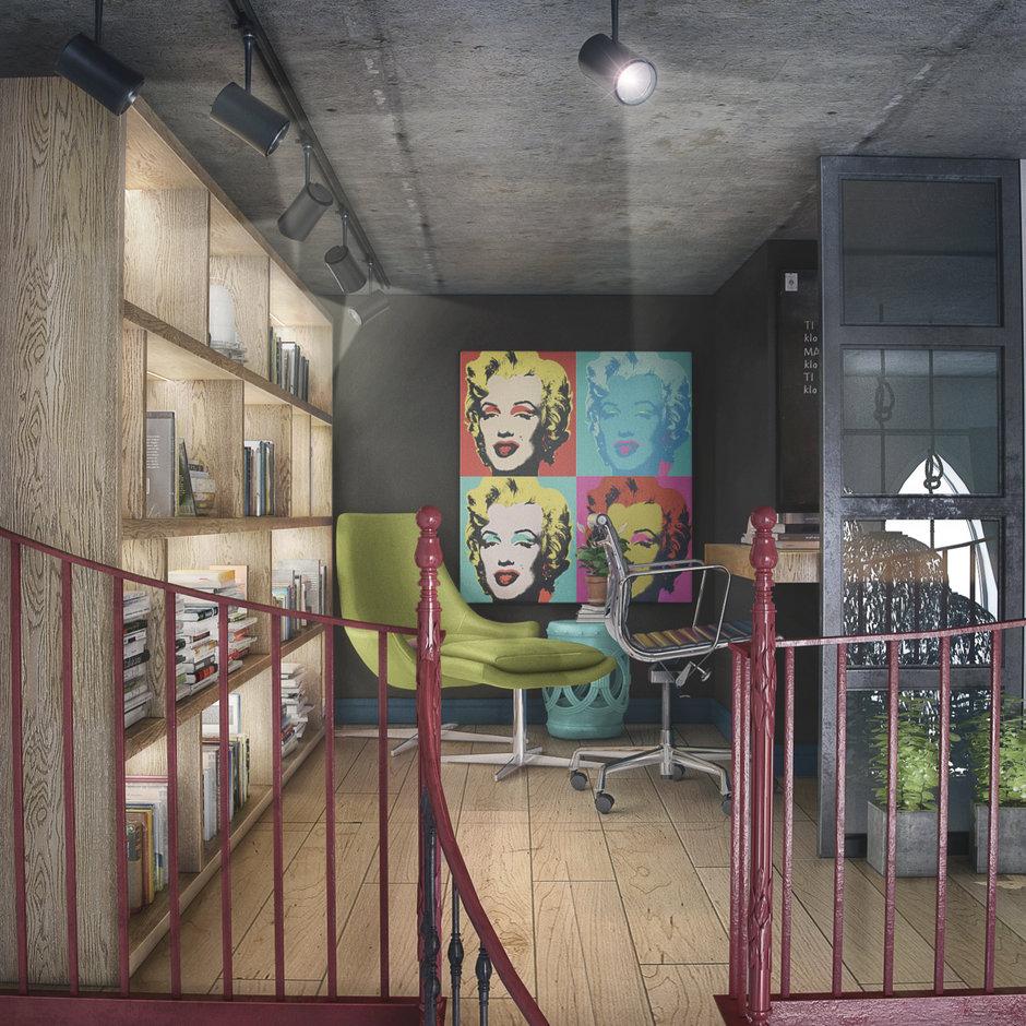 Фотография: Кабинет в стиле Лофт, Квартира, Проект недели, Москва, ToTaste Studio, Монолитный дом, 4 и больше, 60-90 метров, ЖК «Соколиный форт» – фото на InMyRoom.ru