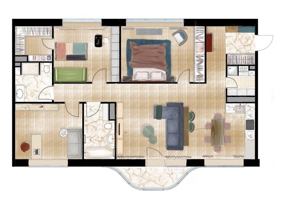 Планировка квартиры в ЖК «Символ», дизайн Алены Юдиной
