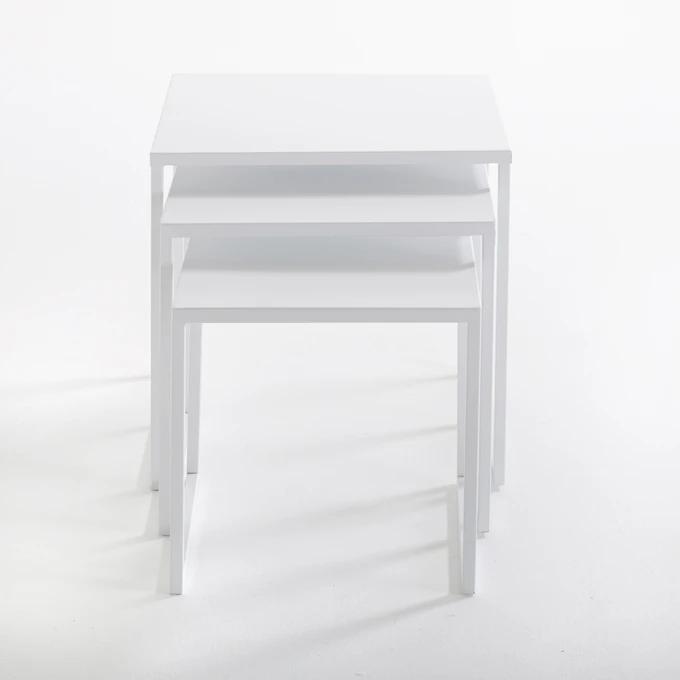 Набор из трех журнальных столиков Hiba белого цвета фото
