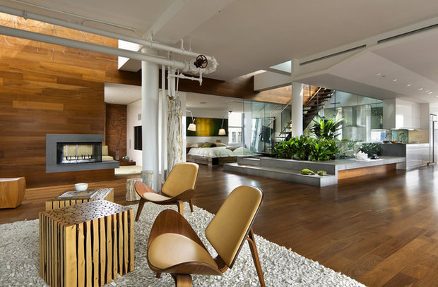 Фотография: Гостиная в стиле Лофт, Квартира, Дома и квартиры, Фитостены – фото на InMyRoom.ru
