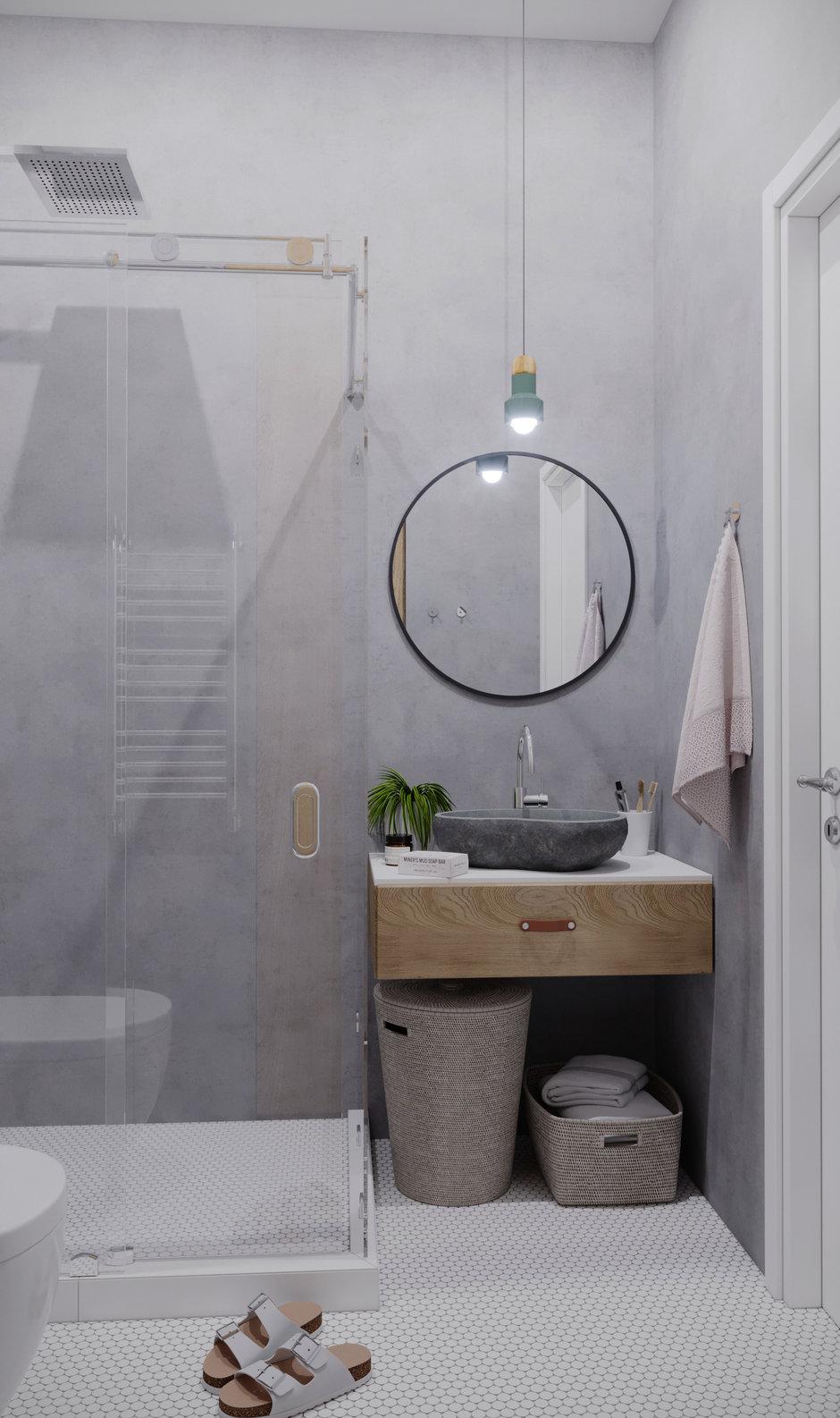 Фотография: Ванная в стиле Минимализм, Квартира, Проект недели, Санкт-Петербург, 1 комната, 40-60 метров, Монолитно-кирпичный, Студия 20:18 – фото на InMyRoom.ru
