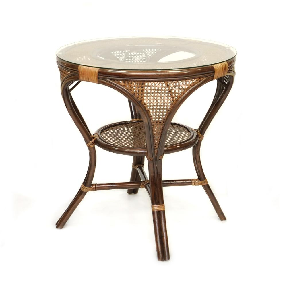 Купить Стол обеденный Mokko l из ротанга со стеклянной столешницей, inmyroom, Индонезия