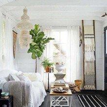Фотография: Гостиная в стиле Скандинавский, Мебель и свет, Белый, Переделка, Дача – фото на InMyRoom.ru