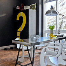Фотография: Кухня и столовая в стиле Лофт, Квартира, Цвет в интерьере, Дома и квартиры, IKEA, Лондон, Черный, Поп-арт – фото на InMyRoom.ru