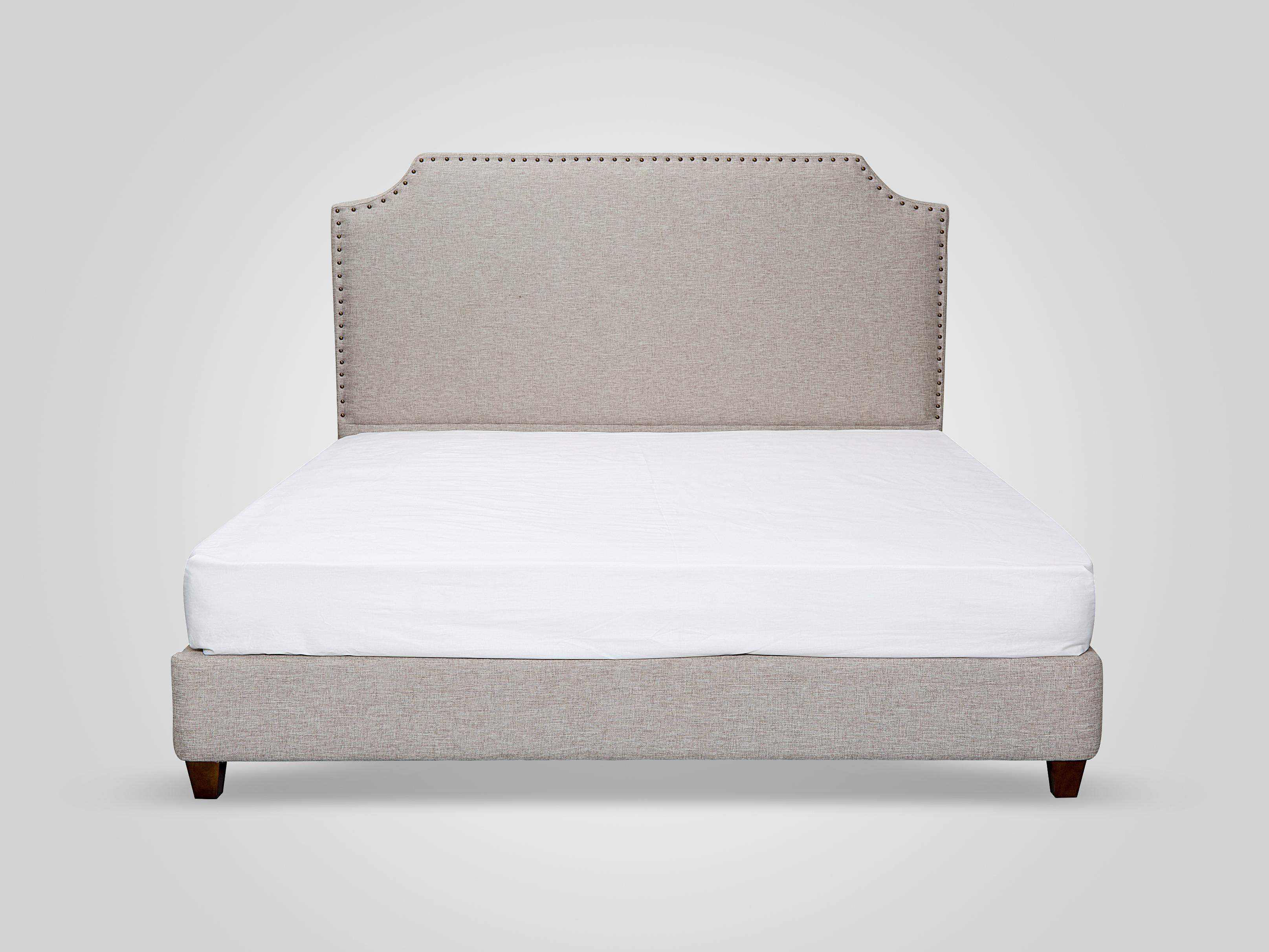 Кровать в обивке из ткани бежевого цвета 140x200