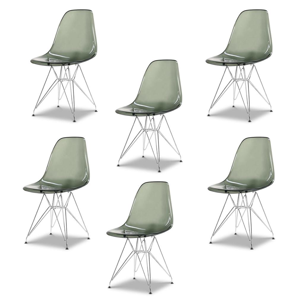 Купить Набор из шести стульев с серым прозрачным сидением, inmyroom, Китай