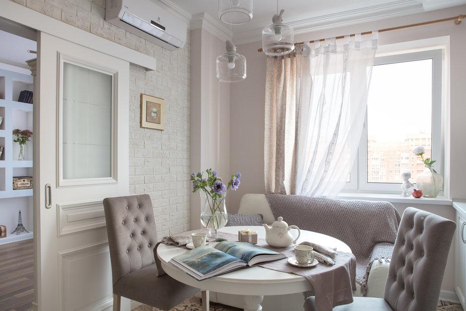 Фотография: Кухня и столовая в стиле Прованс и Кантри, Квартира, Проект недели, Балашиха, Монолитный дом, 2 комнаты, 60-90 метров, Анна Елина – фото на InMyRoom.ru