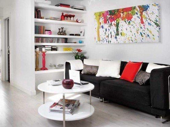 Фотография: Гостиная в стиле Скандинавский, Декор интерьера, Малогабаритная квартира, Квартира, Цвет в интерьере, Дома и квартиры, Белый, Черный, Красный – фото на INMYROOM