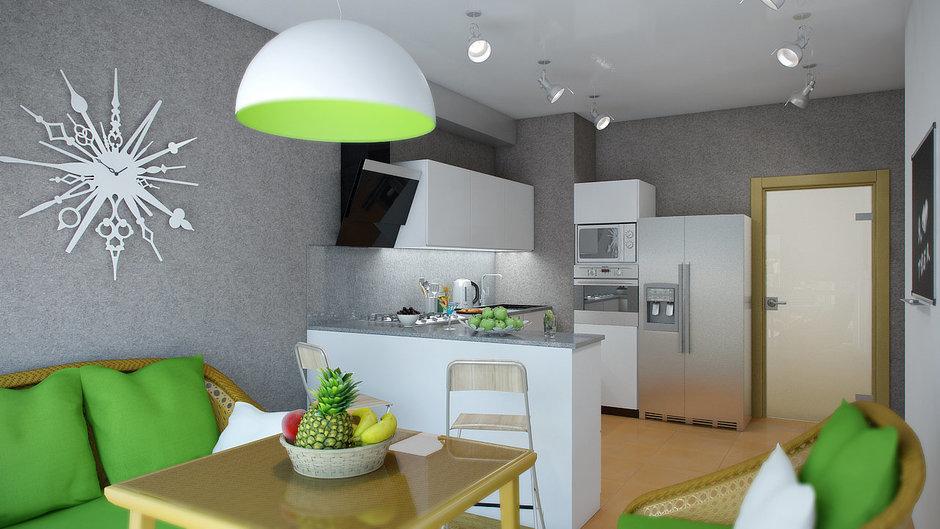 Фотография: Кухня и столовая в стиле Современный, Декор интерьера, Квартира, Цвет в интерьере, Дома и квартиры, Проект недели, Стены – фото на InMyRoom.ru