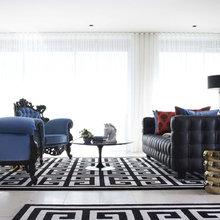 Фотография: Гостиная в стиле Эклектика, Декор интерьера, Декор дома, Цвет в интерьере, Ковер, Геометрия в интерьере – фото на InMyRoom.ru