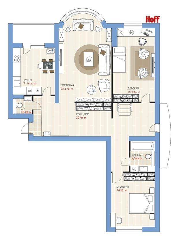 Фотография:  в стиле , Квартира, Планировки, HOFF, Перепланировка, HOFF, И-155МК, Анастасия Киселева, И-155Б, Панельный дом, И-155, 3 комнаты, Более 90 метров, И-155Н – фото на InMyRoom.ru