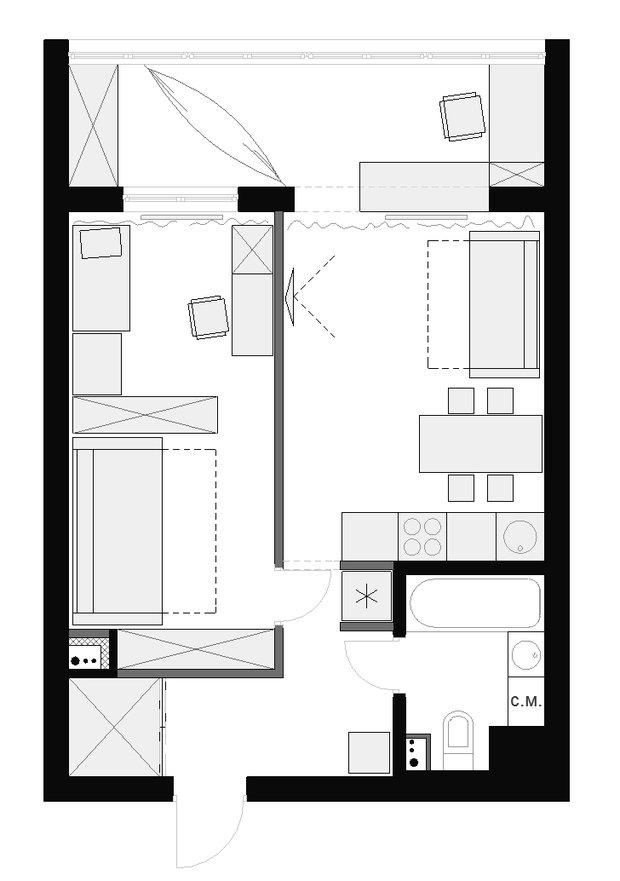 Фотография: Планировки в стиле , Квартира, Дома и квартиры, Переделка – фото на InMyRoom.ru