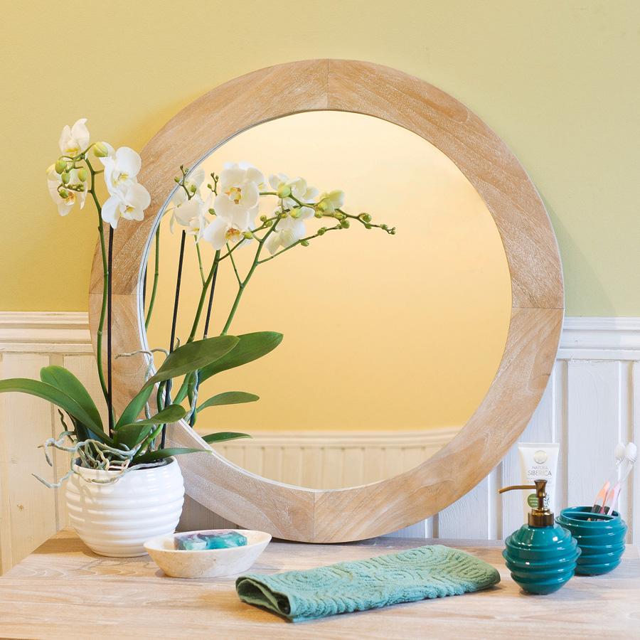 Купить Зеркало Teak&Amp;Water круглое (White Wash), inmyroom, Индонезия