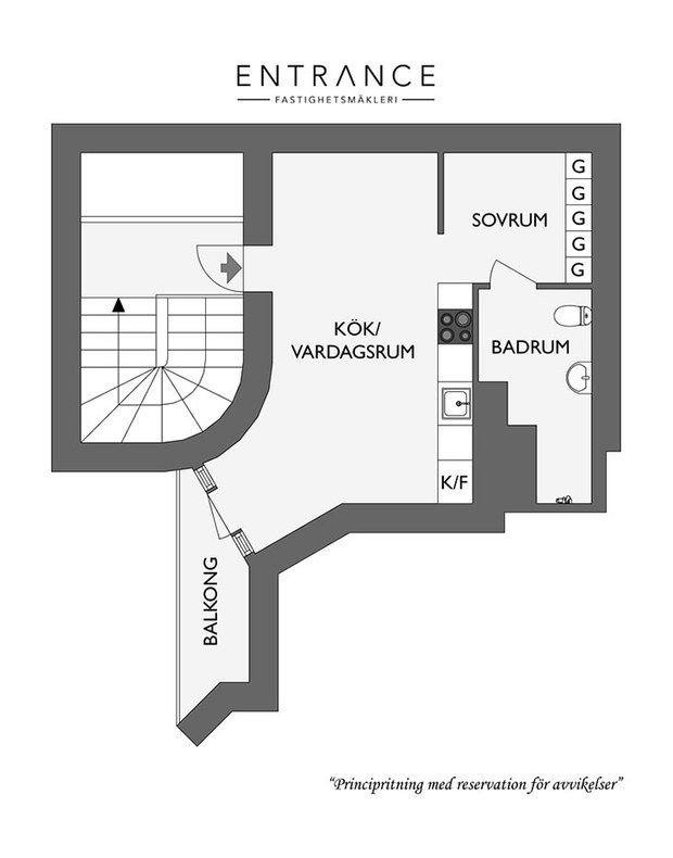 Фотография: Планировки в стиле , Скандинавский, Малогабаритная квартира, Квартира, Студия, Швеция, до 40 метров – фото на InMyRoom.ru