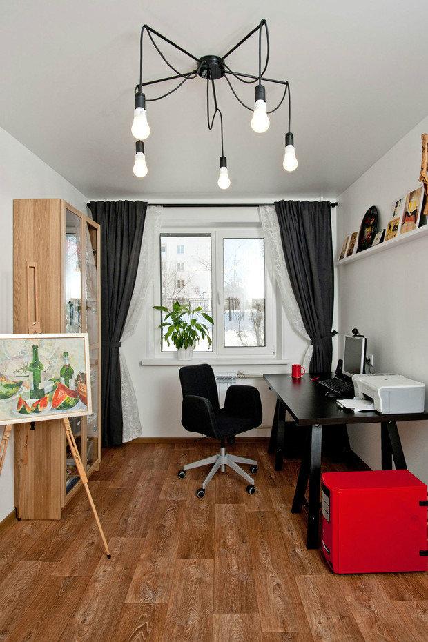 Фотография: Офис в стиле Скандинавский, Малогабаритная квартира, Квартира, Дома и квартиры, Белый, Проект недели – фото на InMyRoom.ru