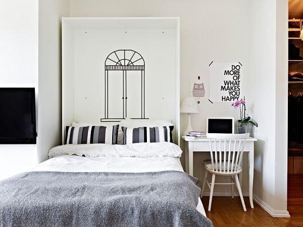 Фотография: Спальня в стиле Скандинавский, Малогабаритная квартира, Квартира, Дома и квартиры, Минимализм – фото на InMyRoom.ru