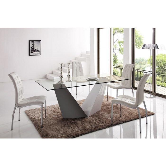 Стол на глянцевой опоре со столешницей из закаленного прозрачного стекла