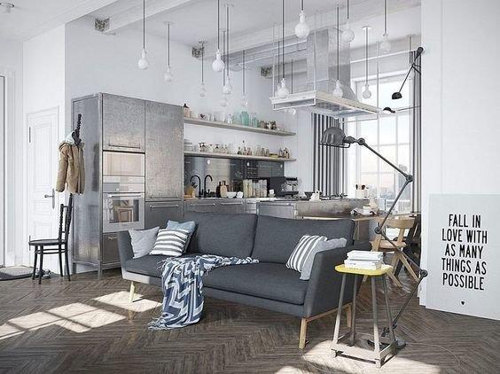 Фотография: Кухня и столовая в стиле Лофт, Советы, как зонировать студию, Марина Лаптева – фото на InMyRoom.ru
