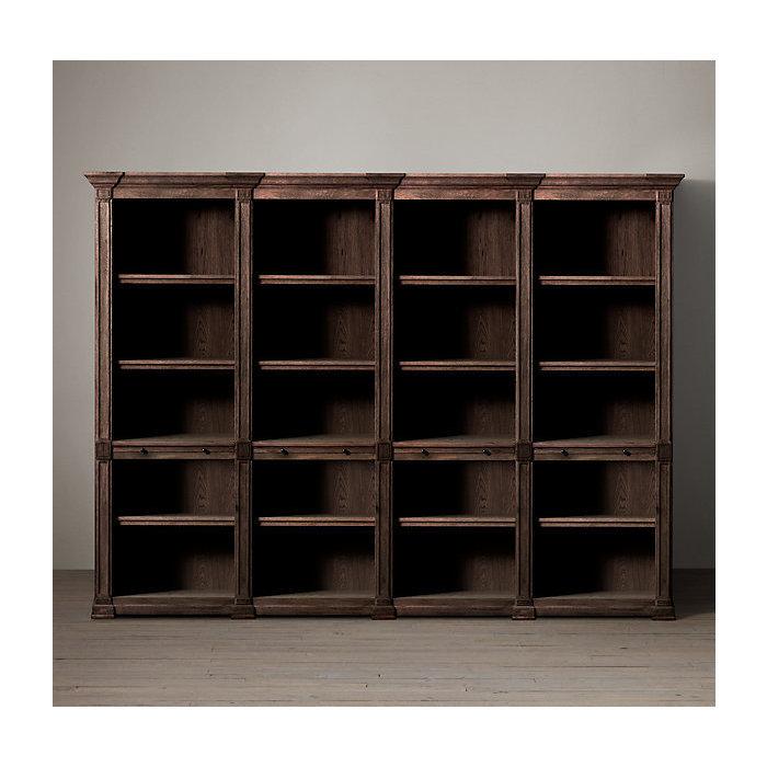 Низкий открытый книжный шкаф atkins из четырех частей.