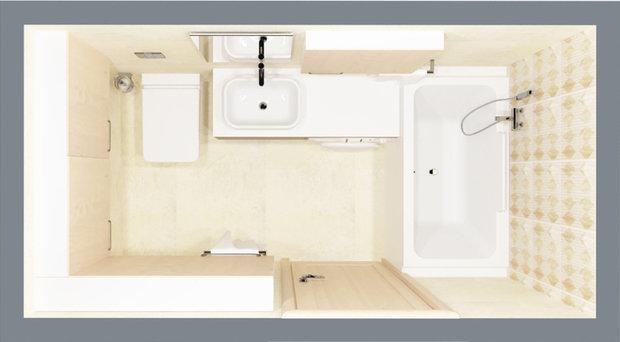Фотография:  в стиле , Ванная, 8, Перепланировка, планировка санузла, санузел в двухкомнатной квартире дома серии 83, перепланировка маленького санузла, планировка для маленького санузла – фото на InMyRoom.ru