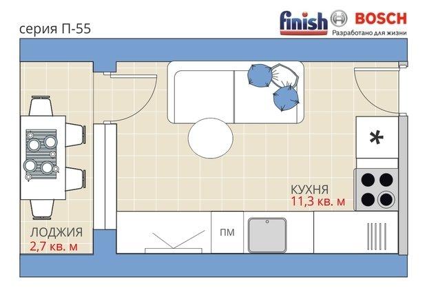 Фотография:  в стиле , Кухня и столовая, Квартира, Перепланировка, Анастасия Киселева, П-55, Блочный дом, Finish, 3 комнаты, 60-90 метров – фото на InMyRoom.ru