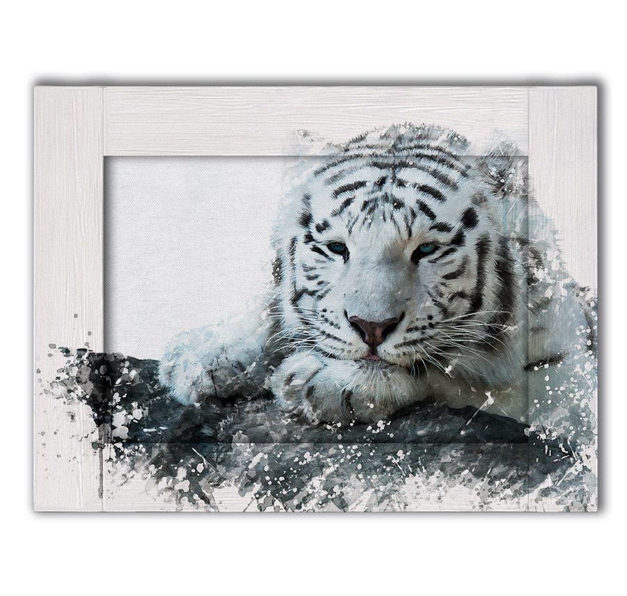 Картина с арт рамой белый тигр 60х80