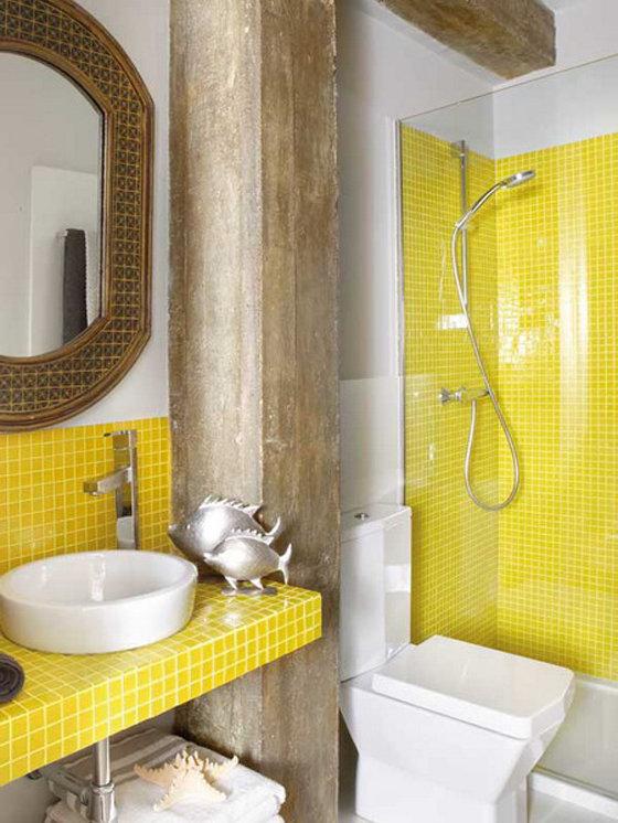 Фотография: Ванная в стиле , Декор интерьера, Дизайн интерьера, Цвет в интерьере, Желтый – фото на InMyRoom.ru