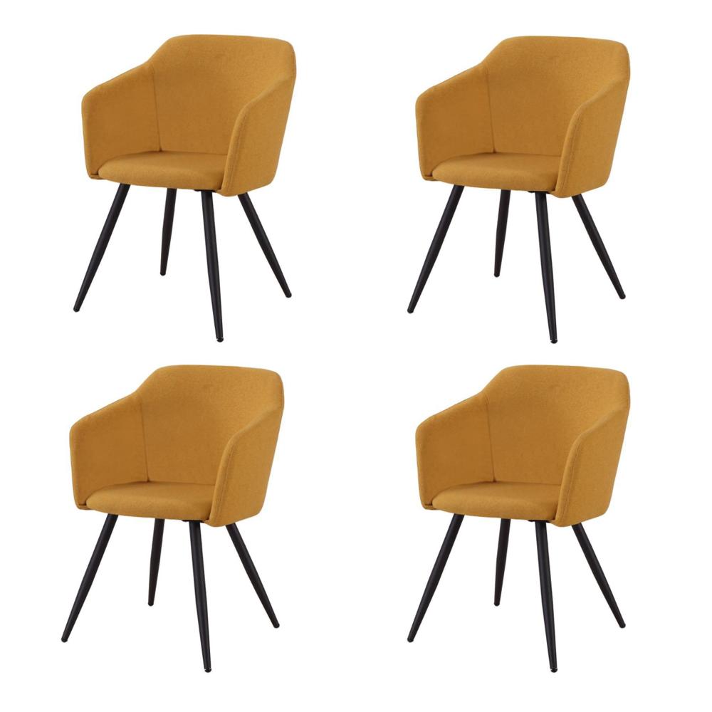 Купить Набор из четырех стульев с обивкой из ткани желтого цвета, inmyroom, Китай