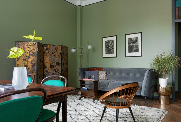 Фотография: Гостиная в стиле Минимализм, Квартира, Проект недели, Москва, Зеленый, Кирпичный дом, 2 комнаты, 40-60 метров, PROPERTY LAB+ART – фото на INMYROOM