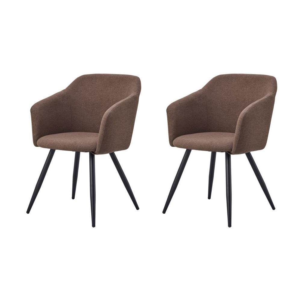Купить Набор из двух стульев с обивкой из ткани коричневого цвета, inmyroom, Китай