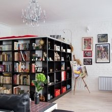 Фотография: Гостиная в стиле Современный, Спальня, Малогабаритная квартира, Квартира, Дома и квартиры, Перепланировка – фото на InMyRoom.ru