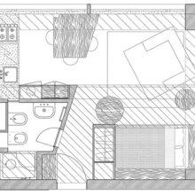 Фотография: Планировки в стиле , Малогабаритная квартира, Квартира, Дома и квартиры, Москва – фото на InMyRoom.ru