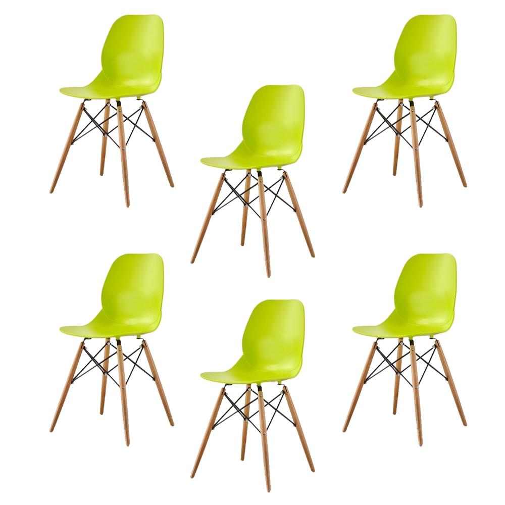 Купить Набор из шести стульев лаймового цвета на деревянных ножках, inmyroom, Китай